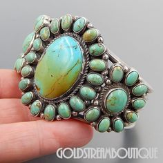 Museum Quality Native American Anthony Skeets Navajo American Turquoise Sterling Silver Cluster Heavy Cuff Bracelet