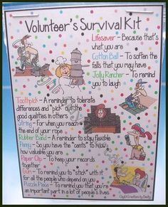 Volunteer Survival Kit - I should see if I have time to make some of these up for the volunteer appreciation brunch today.: