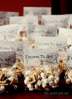 S'mores to go - s'mores snack mix camp out birthday party Camping Party Foods, Camping Parties, Camping Theme, Campfire Birthday Parties, Bonfire Birthday, 14th Birthday, Rv Camping, Boy Birthday, Cupcake