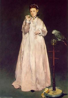 "Édouard Manet, ""Mulher com papagaio"", 1866, ol/tl, Metropolitan Museum, Nova York    http://pt.wahooart.com/@@/9H5RCF-Edouard-Manet-Mulher-com-papagaio,-Metropolitana-(185-x-129-cm)-(1866)"