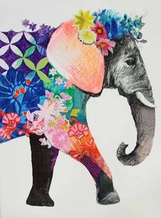 Elephant art--Anthea Polson Art - specialising in contemporary Australian art and sculpture - Featuring work by Emma Gale - Priya Psychedelic Art, Illustrations, Illustration Art, Elephant Art, Colorful Elephant, Happy Elephant, Elephant Tattoos, Art Africain, Photocollage