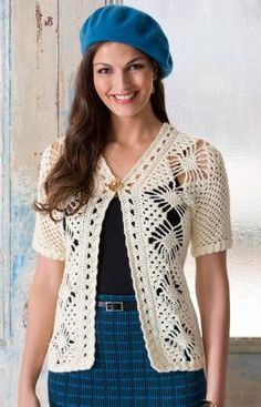 Free Pattern for women's crocheted cardigan -  Maybe with slightly longer sleeves...
