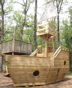 Buy this Pirate Ship Outdoor Playhouse Let your little smugglers spend a fun afternoon with this Pirate Ship Outdoor Playhouse. Looking for DIY projects for home improvement your outdoor living space or do it yourself craft ideas Kids Playhouse Plans, Build A Playhouse, Playhouse Outdoor, Outdoor Projects, Diy Projects, Backyard Playground, Backyard Fort, Backyard Kids, Exterior