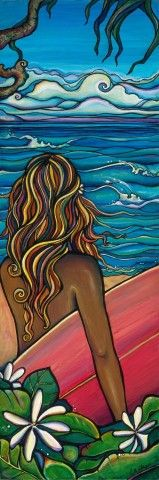 north shore, oahu, surfer, surf girl, colleen wilcox art