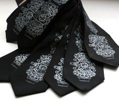SHOP: 7 Groomsmen microfiber neckties, wedding group discount, matching ties, same silkscreen design. $189.00, via Etsy.