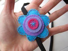 Mod Little Posey in Turquoise and Purple felt by soleilgirl