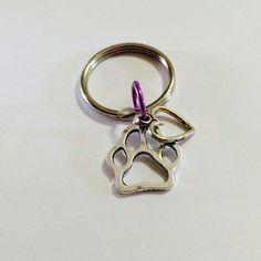 I love my pet Paw print Charm Keychain , Pet Keychain, Dog Charm, Cat Charm   on Etsy, $6.00