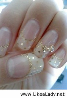 Amazing nails with white and gold