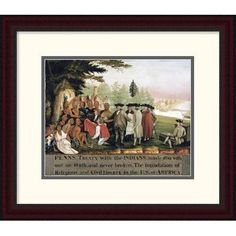 "Global Gallery 'Penn's Treaty with the Indians' by Edward Hicks Framed Painting Print Size: 20.75"" H x 24"" W x 1.5"" D"