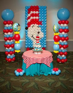 Balloon backdrop at a Dr. Seuss Party #drseuss #partybackdrop