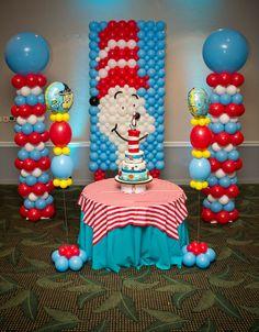 Balloon backdrop at a Dr. Seuss Party #drseuss #partybackdrop