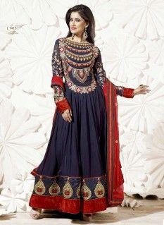 Blue Fancy Border Work Georgette Anarkali Kameez with Pure Chiffon Dupatta