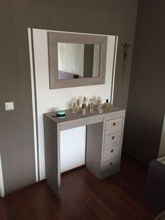 Steigerhout dressoir met 4 lades met bijpassende spiegel uitvoering grey wash steigerhout - Dressoir met spiegel ...
