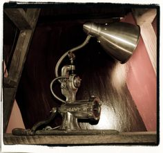 Lampe HACHOIR Alu & bois 45cm