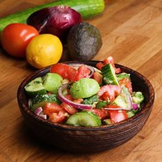 Cucumber, Tomato, And Avocado Salad Cucumber, Tomato, And Avocado Salad This And Is Super Fresh And Tasty. Fresh to death. Tasty Videos, Food Videos, Vegetarian Recipes, Cooking Recipes, Healthy Recipes, Vegetarian Salad, Healthy Snacks, Healthy Eating, Clean Eating