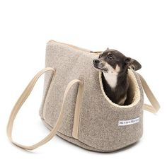 Mutts and Hounds Dog Carrier - Grey Tweed Dog Carrier Bag, Toy Dog Breeds, Tweed, Dog Pillow Bed, Dog Shop, Dog Bag, Transporter, Pet Carriers, Hound Dog