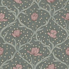Tulippa by Boråstapeter - Dark Green and Pink - Wallpaper : Wallpaper Direct Embossed Wallpaper, Wallpaper Panels, Pink Wallpaper, Wallpaper Roll, Pattern Wallpaper, Accent Wallpaper, Studio Paris, Indian Flowers, Floral