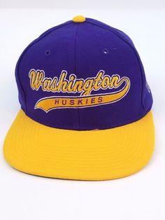 Washington Huskies Snapback Hat Cap Wool One Size Purple Yellow Embroidered Embroidered Clothes, Purple Yellow, Snapback Hats, Baseball Cap, Husky, Washington, Wool, Fashion, Baseball Hat