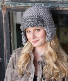 Mixed Aviator Hat Free Knitting Pattern in Red Heart Yarns