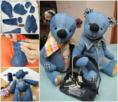 Repurpose your old denim jeans into this adorable Teddy Bear! It's a super cute FREE Pattern and will make a beautiful gift for any little one. Tutorials via 'Inventive Denim and 'How Joyful' Denim Teddy Bear Tutorial Sewing Toys, Sewing Crafts, Sewing Projects, Diy Projects, Jean Crafts, Denim Crafts, Artisanats Denim, Denim Shirts, Diy Couture