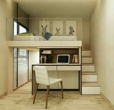Expert Advice 3 Furniture SpaceSaving Tricks for Small Units is part of Small room bedroom - Take tiny house living to the next level by using modular furniture that you can hide, fold, extend, and stack Room Design Bedroom, Home Room Design, Small Room Bedroom, Bedroom Loft, Small Rooms, Small Apartments, Tiny Bedrooms, Mezzanine Bedroom, Loft Beds