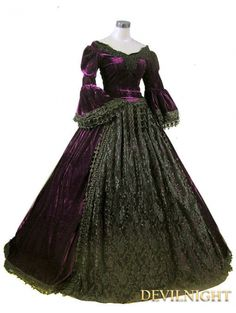 Purple and Black Velvet Lace Victorian Ball Gowns - Devilnight.co.uk