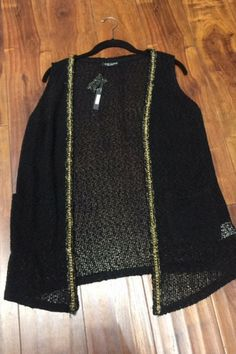 Black, Knit Open Cardigan with Gold Metal Chain Trim! - 5dollarfashions.com