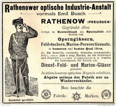 Original-Werbung/ Anzeige 1897 - RATHENOWER OPTISCHE INDUSTRIE-ANSTALT-  MOTIV SOLDAT / RATHENOW  - ca. 90 x 80 mm