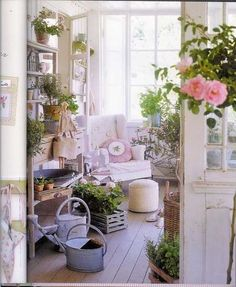 Shabby Chic veranda/patio - love the palette style plant holders and watering cans