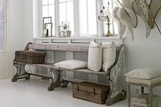 This chippy old church pew makes a dreamy bench.
