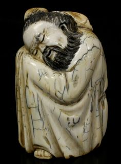 CHINESE IVORY CARVING | chinese hand carved ivory sleeping man antique hand carved chinese ...