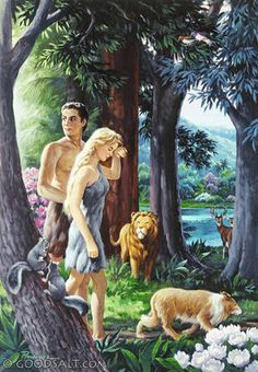 Adam and Eve, clothed in fur, leaving the Garden of Eden. Bible Pictures, Religious Pictures, Religious Art, Christian Artwork, Christian Pictures, Bible Art, Bible Scriptures, Bible Illustrations, Illustration Art