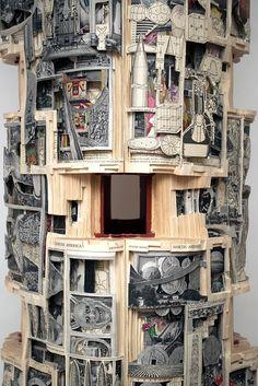 Tower #1 (Britannica) | Brian Dettmer, 2012 | Book sculpture [hardcover books, acrylic varnish, pedestal]
