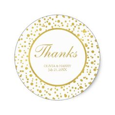 Sparkly Gold Confetti Wedding Favor Thank You Classic Round Sticker - foil leaf gift idea special template