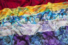 Hand Marbled Silk Scarves Group shot www.colorvibedesigns.com