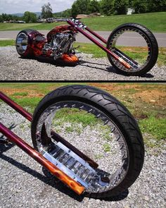 This hubless cool chopper bike by Amen Design is the world's first fully functional motorbike with two hubless wheels. The biker boys at. Custom Choppers, Custom Bikes, Custom Cars, Scooters, Harley Davidson, Side Car, Chopper Bike, Cool Motorcycles, Indian Motorcycles