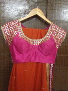 Pink raw silk gota patti blouse and orange Duppatta with velvet border.. #lehenga #choli #indian #shaadi #bridal #fashion #style #desi #designer #blouse #wedding #gorgeous #beautiful#Half Saree