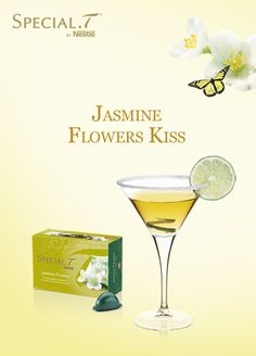 Ingredients & cocktail preparation (For 1L of cocktail): 2 capsules of Jasmine Flowers (Flavoured Green Tea by SPECIAL.T), 15 ice cubes, ¼ lime,  small piece of ginger, 2 teaspoons of sugar. Prepare two cups of Jasmine Flowers. Pour into a jug filled with ice cubes. Squeeze the lime and crush the ginger. Mix and strain before serving!