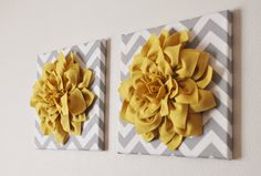 Home Decor mur suspendu douce Rose jaune sur gris 12 x