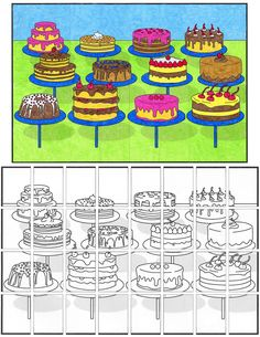 """Theibaud Cake Mural. New PDF template from Art Projects for Kids. Buy my $5 PDF template once and make as many 58"""" x 36"""" murals as you want. #collaborativeart #theibaud Collaborative Art Projects, Classroom Art Projects, Art Classroom, Projects For Kids, Art Lessons For Kids, Art For Kids, Cupcake Art, Art Cupcakes, Art Handouts"""