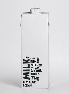 I love this packaging! The simplicity of the milk carton itself goes really well with the simplicity of the design. Milk Packaging, Bottle Packaging, Pretty Packaging, Brand Packaging, Design Packaging, Clever Packaging, Chocolate Packaging, Coffee Packaging, Packaging Ideas