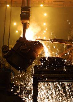 Steelmaking in the basic oxygen shop at Edgar Thomson Plant -   North Braddock, Pennsylvania
