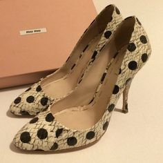 """Miu Miu Python Polka Dot Printed Heels Gray python with black polka dots.  Leather insoles and soles.  4.5"""" heel height.  Worn once or twice indoors as you can see the soles look like new.  Love these but I never get to wear them anymore.  Color is Roccia or rock which is grayish.  Comes with box and shoe bags. miu miu Shoes Heels"""