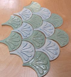 Moroccan Fish Scale tile 1 square foot 12 tile sky blue and Mermaid Tile, Fish Scale Tile, Dragon Scale, Fish Scales, Moroccan, Shells, Sky, Handmade, Blue