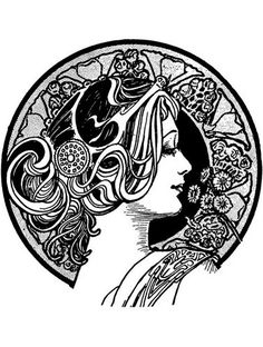 To print this free coloring page «coloring-adult-visage-art-nouveau», click on the printer icon at the right