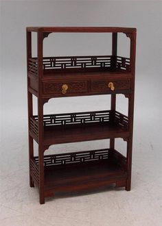 Miniature Carved Rosewood Display Cabinet With Drawers - Apprentice Furniture