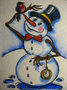 Orig. Watercolor Painting Winter Christmas Snowman Bird Watches Snow Folk Art  #Impressionism