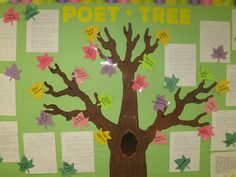 """Create a """"POET-TREE"""" bulletin board display in your classroom to feature the poems that your students write."""