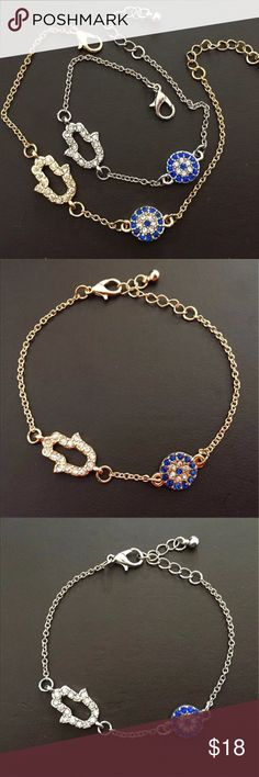 Hamsa Evil Eye Crystal Rhinestone Bracelet Hamsa Evil Eye Crystal Rhinestone Bracelet Jewelry Bracelets