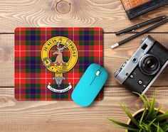 Rubber mousemat with Fraser of Lovat Clan crest and tartan - only from ScotClans